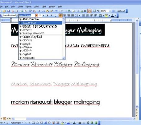 Instal Font MS Word