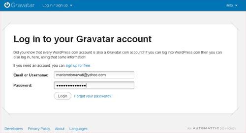 Login Gravatar Mariam Blog