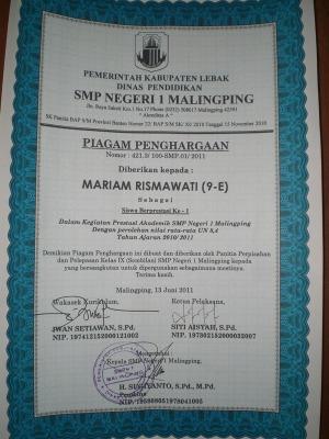 Terbaik UAS 2011 SMPN 1 Malingping